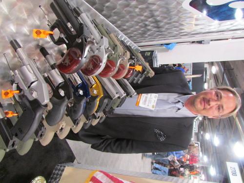 Tom Wharton | The Salt Lake Tribune Kodiak Industries President W. P. Gentry shows off pistols produced at a Salt Lake City plant.