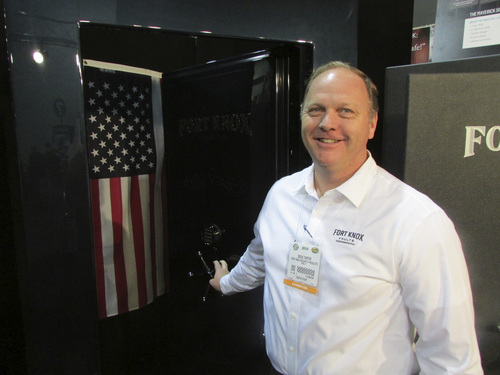 Tom Wharton | The Salt Lake Tribune Doug Tarter of Fort Knox Safes in Orem shows off a safe at the annual SHOT Show in Las Vegas.