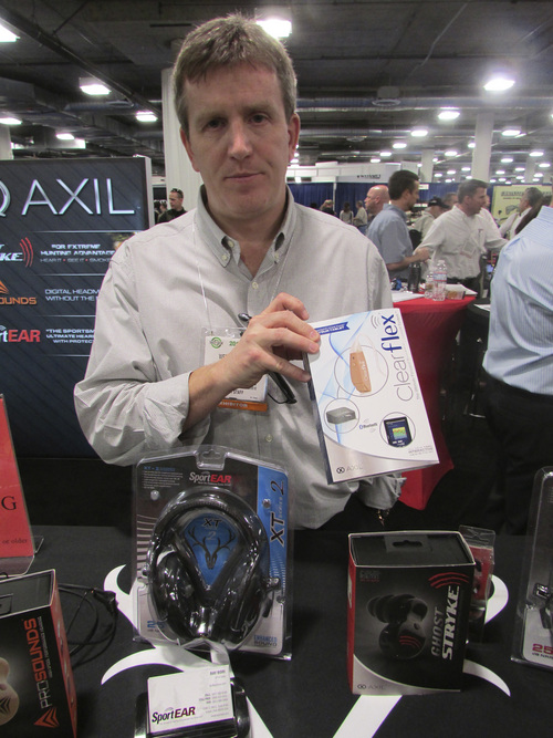 Tom Wharton | The Salt Lake Tribune Weston Harris, CEO of SportEAR based in Sandy, displays product that makes it easier for hunters, soldiers and law enforcement officers to hear in the field while also protecting their ears from loud blasts at the SHOT Show in Las Vegas.