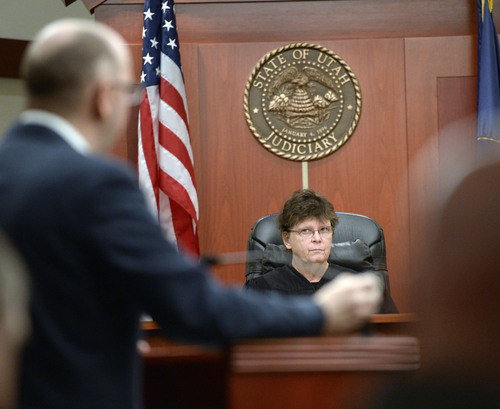 Al Hartmann  |  The Salt Lake Tribune Prosecuter Matt Janzen raises an issue with Judge Judith Atherton in Esar Met's murder trial in Salt Lake City Wednesday January 15, 2014   Esar Met is accused of killing 7-year-old Hser Ner Moo, who disappeared on March 31, 2008.