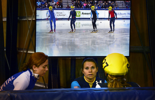 Scott Sommerdorf   |  The Salt Lake Tribune Jessica Smith, center, watches another heat after she won her 500 meter quarterfinal at the Kearns Olympic Oval, Saturday, January 4, 2014.