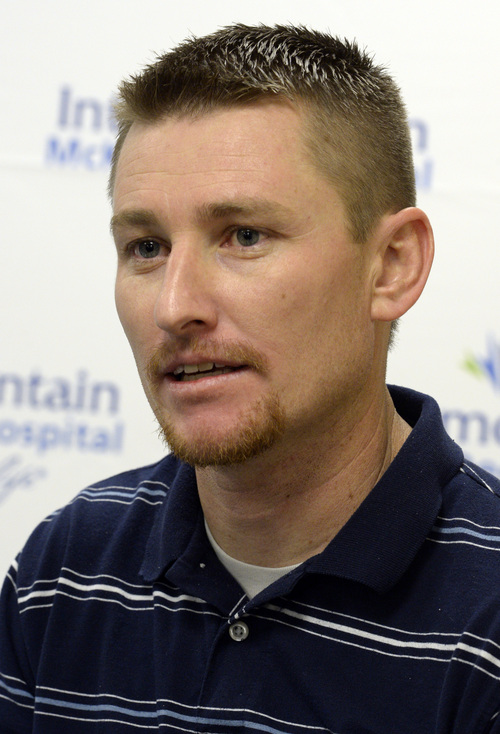 Rick Egan  | The Salt Lake Tribune   Justin Hildreth talks about the avalanche that his friend Matt Morgan, survived last Saturday, near the Idaho-Utah border, during a press conference at the McKay-Dee Hospital, Wednesday, January 15, 2014.