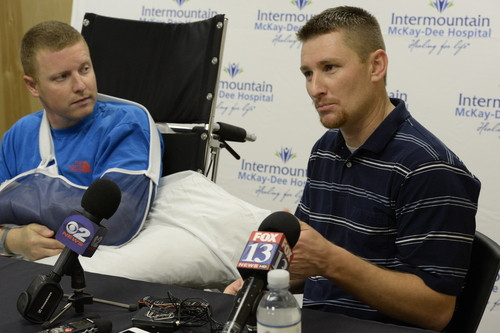 Rick Egan  | The Salt Lake Tribune   Matt Morgan (left) listens as his friend, Justin Hildreth talks about the avalanche Morgan, survived last Saturday, near the Idaho-Utah border, during a press conference at the McKay-Dee Hospital, Wednesday, January 15, 2014.
