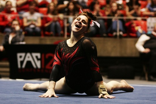 Kim Raff  |  The Salt Lake Tribune Utah gymnast Becky Tutka performs her routine on the floor event during a meet against Florida at the Huntsman Center in Salt Lake City on March 16, 2013. She received a perfect 10 for her routine.