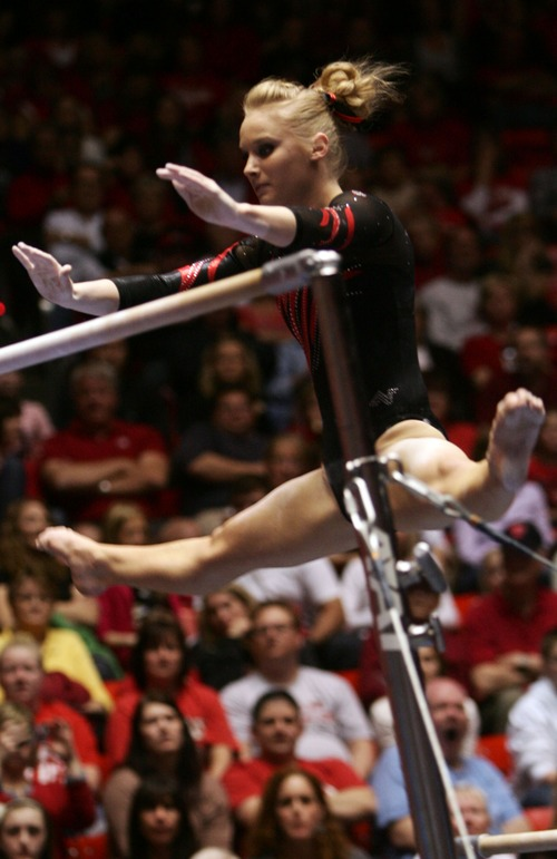 Kim Raff  |  The Salt Lake Tribune Utah gymnast Georgia Dabritz performs on the uneven bars a during a meet against Florida at the Huntsman Center in Salt Lake City on March 16, 2013. She received a perfect 10 for her routine.