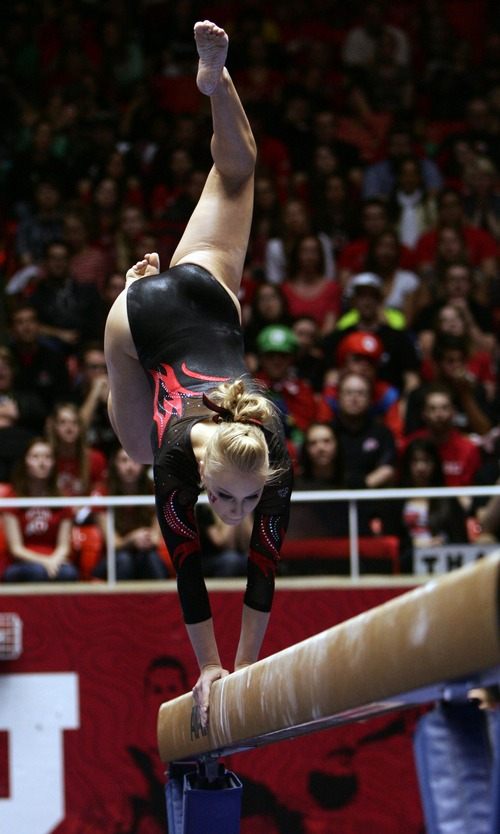 Kim Raff  |  The Salt Lake Tribune Utah gymnast Georgia Dabritz performs her routine on the beam during a meet against Florida at the Huntsman Center in Salt Lake City on March 16, 2013. Utah went on to beat Florida in the meet.