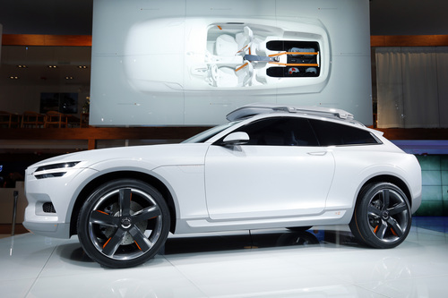 The Volvo XC Coupe concept is shown during media previews during the North American International Auto Show in Detroit, Monday, Jan. 13, 2014. (AP Photo/Paul Sancya)
