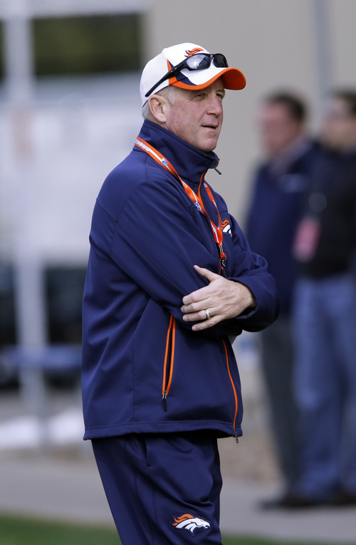 Denver Broncos head coach John Fox talks to the media at the NFL Denver Broncos football training facility in Englewood, Colo., on Wednesday, Jan. 15, 2014. The Broncos are scheduled to play the New England Patriots on Sunday for the AFC Championship. (AP Photo/Ed Andrieski)