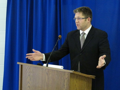 """Federal public defender Allen Bohnert talks about the execution of his client, death row inmate Dennis McGuire, by a never-tried lethal drug process, on Thursday, Jan. 16, 2014 at the Southern Ohio Correctional Facility in Lucasville, Ohio. After McGuire repeatedly gasped over several minutes before dying, Bohnert called the procedure """"a failed agonizing experiment by the state of Ohio."""" (AP Photo/Andrew Welsh-Huggins)"""