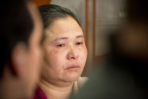 Lennie Mahler  |  The Salt Lake Tribune Pearlly Wah, mother of Hser Ner Moo, speaks to the media after Esar Met received a guilty verdict in the Matheson Courthouse on Friday, Jan. 17, 2014. Met was convicted of murder of 7-year-old Hser Ner Moo, who disappeared in 2008.