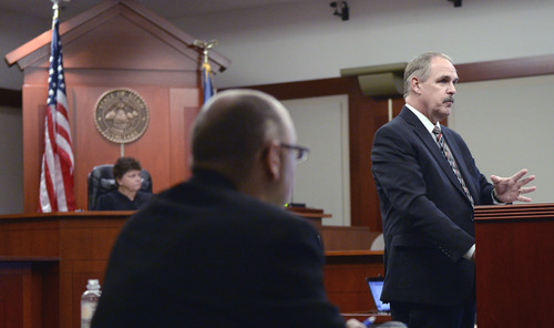 Al Hartmann  |  The Salt Lake Tribune Prosecuter Robert Parrish makes final summations to the jury in Esar Met's  murder trial in Salt Lake City Friday January 17, 2014. Esar Met is accused of killing 7-year-old Hser Ner Moo, who disappeared on March 31, 2008.