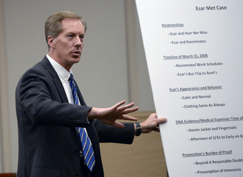 Al Hartmann  |  The Salt Lake Tribune Defense lawyer Michael Peterson makes final summations to the jury in Esar Met's murder trial in Salt Lake City Friday January 17, 2014. Esar Met is accused of killing 7-year-old Hser Ner Moo, who disappeared on March 31, 2008.