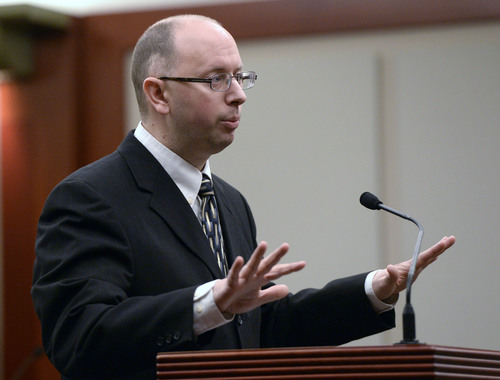 Al Hartmann  |  The Salt Lake Tribune Prosecuter Matt Janzen makes final rebuttal to the jury in Esar Met's trial in Salt Lake City Friday January 17, 2014. Esar Met is accused of killing 7-year-old Hser Ner Moo, who disappeared on March 31, 2008.