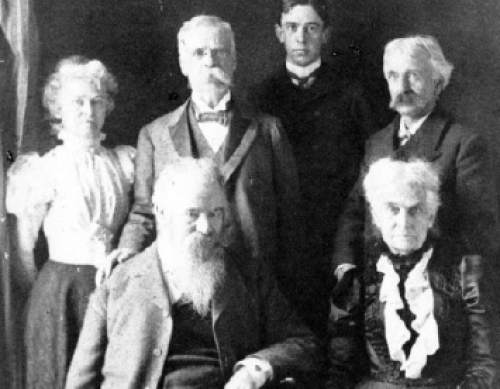 Group photo in 1871 of the members of Powell's 2nd expedition into the Grand Canyon. Powell, seated front and center, was a soldier who lost his arm in the Civil War, and went on to become a geology professor, American Indian expert, western conservation advocate, and an explorer who's most famous expedition was a 900-mile journey on the Green and Colorado Rivers in 1870.
