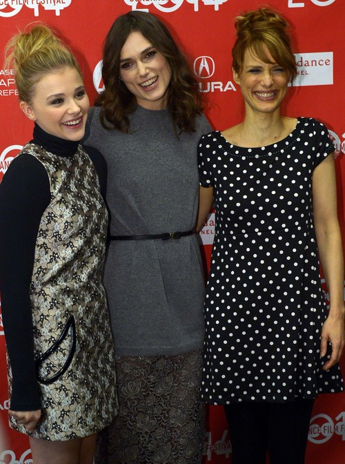 "Leah Hogsten  |  The Salt Lake Tribune l-r Chloe Moretz, Keira Knightley and director Lynn Shelton at the ""Laggies,"" Sundance premiere Friday, January 17, at the Eccles Theatre during the Sundance Film Festival in Park City."