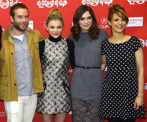 "Leah Hogsten  |  The Salt Lake Tribune l-r , Mark Webber, Chloe Moretz, Keira Knightley and director Lynn Shelton at the ""Laggies,"" Sundance premiere Friday, January 17, at the Eccles Theatre during the Sundance Film Festival in Park City."
