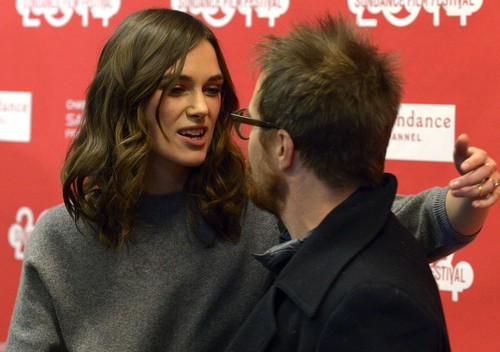 "Leah Hogsten  |  The Salt Lake Tribune Keira Knightley hugs Sam Rockwell at the ""Laggies,"" Sundance premiere Friday, January 17, at the Eccles Theatre during the Sundance Film Festival in Park City."