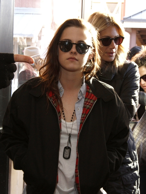Kristen Stewart arrived for interviews at Quaker Good Energy Lodge with GenArt and the Collective during Sundance 2014 on Friday, January, 17, 2014 in Park City, Ut. (Photo by Dan Harr/Invision for Collective Cabin/AP Images)