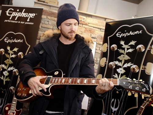 Actor Aaron Paul seen at Quaker Good Energy Lodge with GenArt and the Collective during Sundance 2014 on Friday, January, 17, 2014 in Park City, Ut. (Photo by Dan Harr/Invision for Collective Cabin/AP Images)