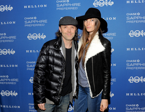 """Drummer Lars Ulrich and Jessica Miller at the Chase Sapphire Preferred """"Hellion"""" premiere party during the Sundance Film Festival, on Friday, January 17, 2013 in Park City, Utah. (Photo by Evan Agostini/Invision for Chase Sapphire Preferred/AP Images)"""