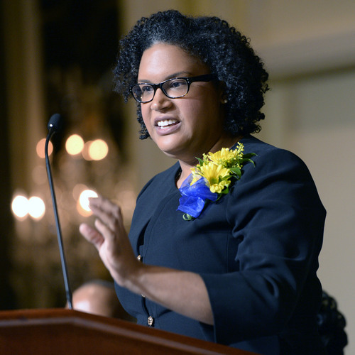 Al Hartmann  |  The Salt Lake Tribune Monique Lin-Luse, special counsel for the education group of the NAACP Legal Defense and Educational Fund, speaks at the  Martin Luther King Jr. Memorial Luncheon hosted by NAACP at the Grand America Monday.