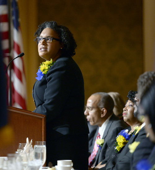 Al Hartmann  |  The Salt Lake Tribune Monique Lin-Luse, special counsel for the education group of the NAACP Legal Defense and Educational Fund, speaks at the  Martin Luther King Jr. Memorial Luncheon hosted by NAACP at the Grand America Monday January 20.