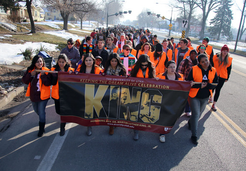 Francisco Kjolseth  |  The Salt Lake Tribune University of Utah students and members of the community march 1.3 miles from East High School to Kingsbury Hall in honor of Martin Luther King Jr. Day. Donations accepted at the end of the March for Youth went  to the Rev. France Davis Scholarship Fund for African-American students.