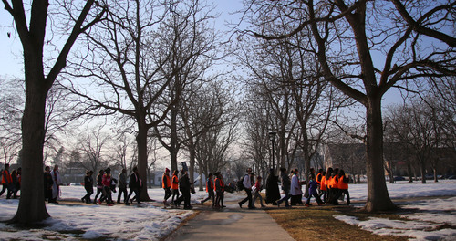 Francisco Kjolseth  |  The Salt Lake Tribune University of Utah students and members of the community march 1.3 miles from East High School to Kingsbury Hall in honor of Martin Luther King, Jr. day. Donations accepted at the end of the March for Youth go toward the Rev. France Davis Scholarship Fund.