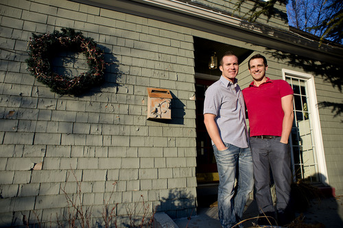 Jeremy Harmon  |  The Salt Lake Tribune   Spencer Stout, left, and his fiancÈ Dustin Reeser plan to get married next week in California. They were photographed at their home in Salt Lake City on Friday, January 17, 2014.