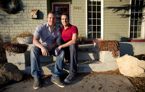 Jeremy Harmon  |  The Salt Lake Tribune   Spencer Stout, left, and his fiancé Dustin Reeser plan to get married next week in California. They were photographed at their home in Salt Lake City on Friday, January 17, 2014.