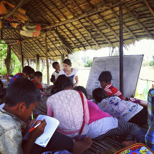 "| Courtesy Sarah Imperiale Utahn Sarah Imperiale spent 11 months traveling to 10 countries with an interdenominational Christian missions group dedicated to serving ""the least of these."" She is seen here teaching an English class in Kampong Speu, Cambodia."