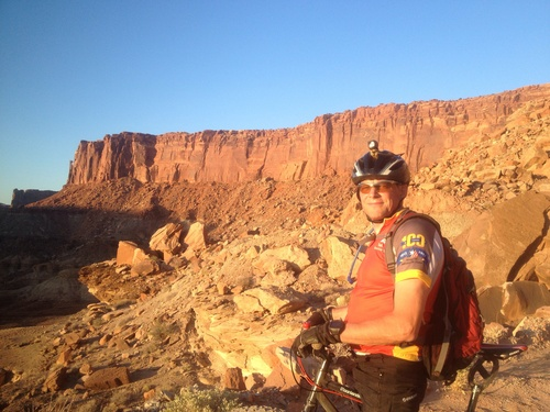 | Courtesy Burton family  Daniel Burton of Saratoga Springs biking in Moab. The morning of Jan. 21, 2014, Burton finished the first-ever biking expedition from the Antarctic coast to the South Pole.