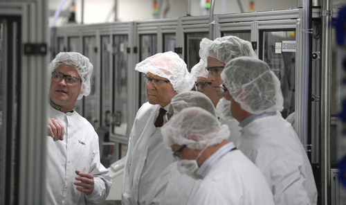 Al Hartmann  |  The Salt Lake Tribune Sen. Orrin Hatch (R-Utah), center, dressed in a hairnet and white coat visits BD's automated manufacturing facility in Sandy, Utah, on Wednesday, Jan. 22, 2014, with company management. BD is a global medical technology company that makes medical supplies, devices and dignostic products. Hatch toured the plant and discussed the implications of the Medical Device Tax as part of funding for Obamacare and other challenges to the competitiveness of the industry.