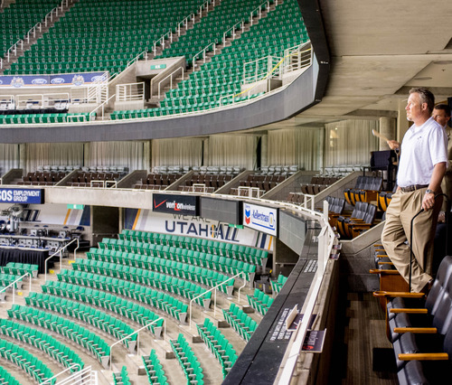 Trent Nelson  |  The Salt Lake Tribune Utah Jazz CEO Greg Miller looks into the arena as the Utah Jazz announced a series of improvements to EnergySolutions Arena Monday June 17, 2013 in Salt Lake City.