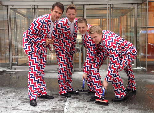 In this image provided by Loudmouth Golf,  members of the Norway's Men's Olympic Curling Team from left Thomas Ulsrud, Torgor Nergard, Christoffer Svae, and Havard Vad Petersson wear their new Sochi 2014 suits as they pose for a photographer in New York Tuesday Jan. 21, 2014. So what will be the must-see moments at the Sochi Olympics? When it comes to curling, there's no doubt what the show-stopper will be. Yes, Norway's men's team is back with their crazy, funky pants. And they'll be more outrageous than ever when the players emerge for their first game at the Ice Cube.   (AP Photo/Cassie Kovacevich, Loudmouth Golf)