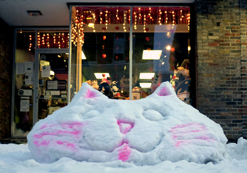 A snow sculpture of a cat greets shoppers at the Posh Pets Salon in Winchester, Va. during a snow storm Tuesday, Jan. 21, 2014.  (AP Photo/The Winchester Star, Scott Mason)