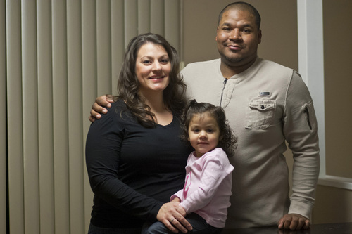 Chris Detrick  |   Tribune file photo Jessica Szilagyi, Will Bolden and Jazella Bolden, 2, pose for a portrait at their home in South Ogden Tuesday February 5, 2013. William Bolden is challenging a provision in Utah's adoption law that requires unmarried fathers to file both a petition and an affidavit declaring paternity and pledging support for an unborn child and his or her mother.