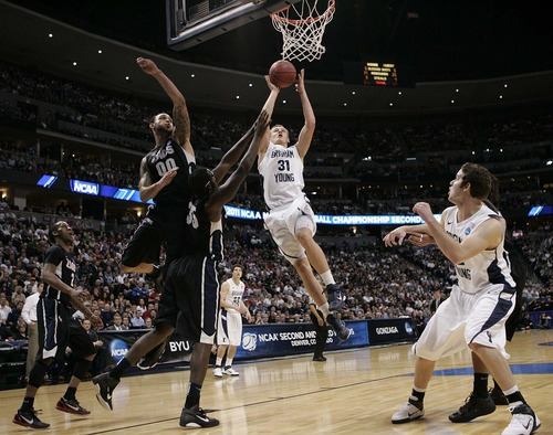 Trent Nelson  |  The Salt Lake Tribune BYU's Kyle Collinsworth scores as BYU defeats Gonzaga in the NCAA Tournament, men's college basketball at the Pepsi Center in Denver, Colorado, Saturday, March 19, 2011, earning a trip to the Sweet 16.