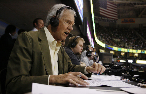 Salt Lake City - Utah Jazz radio announcer Hot Rod Hundley calls the play-by-play during second half action in the Jazz Wizards game at the EnergySolutions Arena Tuesday Mar 17, 2009.  Steve Griffin/The Salt Lake Tribune 3/17/09