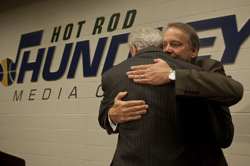 "Photo by Chris Detrick  |  The Salt Lake Tribune Rod Hundley hugs Jazz President Randy Rigby inside of the newly dedicated ""Hot Rod Hundley Media Center"" at the EnergySolutions Arena Friday, January 29, 2010. Hundley worked for 35 years as the broadcast voice for the Utah Jazz."