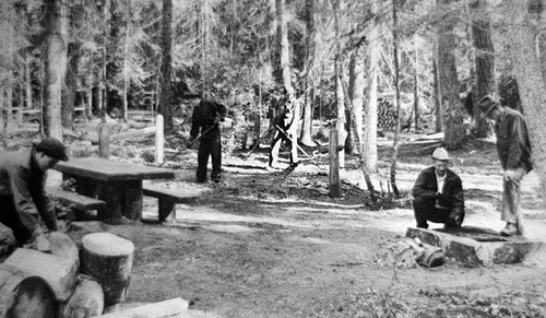 Photo Courtesy Utah State Historical Society  Image shows a CCC crew working on a campground between 1933-42.