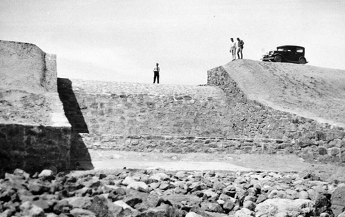 Photo Courtesy Utah State Historical Society  Image shows a general view of a newly completed dam, constructed by the CCC between 1933-39. The project was done by enrollees from either the Orderville, Mount Pleasant, Joe's Valley (Orangeville), or Ferron CCC Camps.