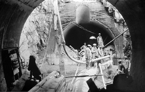Photo Courtesy Utah State Historical Society  Image shows a CCC crew building a tunnel in an unknown Utah location between 1933-39.