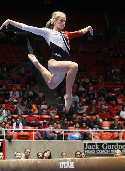 Scott Sommerdorf   |  The Salt Lake Tribune Utah gymnast Mary Beth Lofgren on the balance bean at the Utah Red Rocks preview at the Huntsman Center, Friday December 13 2013.