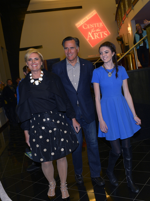 "Scott Sommerdorf   |  The Salt Lake Tribune Mitt Romney, his wife Ann, and their 16 year old granddaughter Allie Romney attend the Sundance Salt Lake City Gala featuring the documentary ""Mitt"" at the Rose Wagner Theater in Salt Lake City, Friday, January 17, 2014."