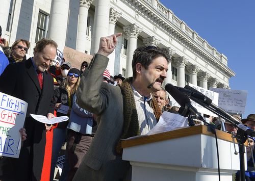Scott Sommerdorf   |  The Salt Lake Tribune Matt Pacenza, of HEAL Utah, speaks on the Capitol steps as more than 4,000 people came to the Utah State Capitol building to protest the unhealthy air in Utah, Saturday, Jan. 25, 2014.