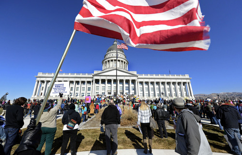 Francisco Kjolseth  |  The Salt Lake Tribune Thousands of clean air advocates gather on the steps of the Capitol to push for pollution solutions on Saturday, jan. 25, 2014.