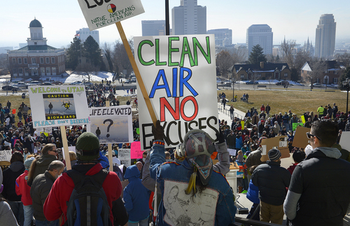 Scott Sommerdorf   |  The Salt Lake Tribune More than 4,000 people came to the Utah State Capitol building to protest the unhealthy air in Utah, Saturday, Jan. 25, 2014.