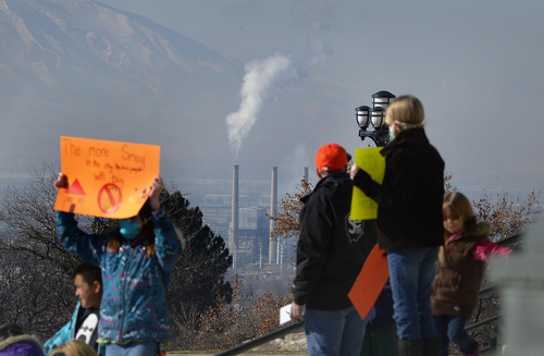 Scott Sommerdorf   |  The Salt Lake Tribune As demonstrators gathered at the capitol, a power plant to the west of Salt Lake City can be seen. More than 4,000 people came to the Utah State Capitol building to protest the unhealthy air in Utah, Saturday, Jan. 25, 2014.