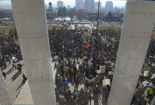 Scott Sommerdorf   |  The Salt Lake Tribune More than 4,000 people who came to the Utah State Capitol to protest the unhealthy air in Utah can be seen from inside the Capitol building, Saturday, Jan. 25, 2014.